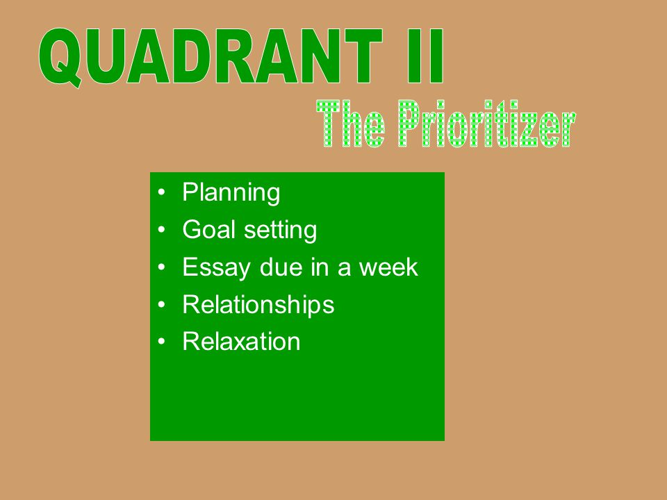 QUADRANT II The Prioritizer Planning Goal setting Essay due in a week