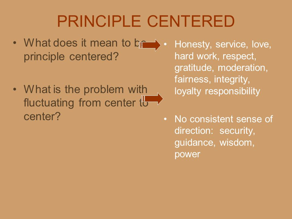 PRINCIPLE CENTERED What does it mean to be principle centered