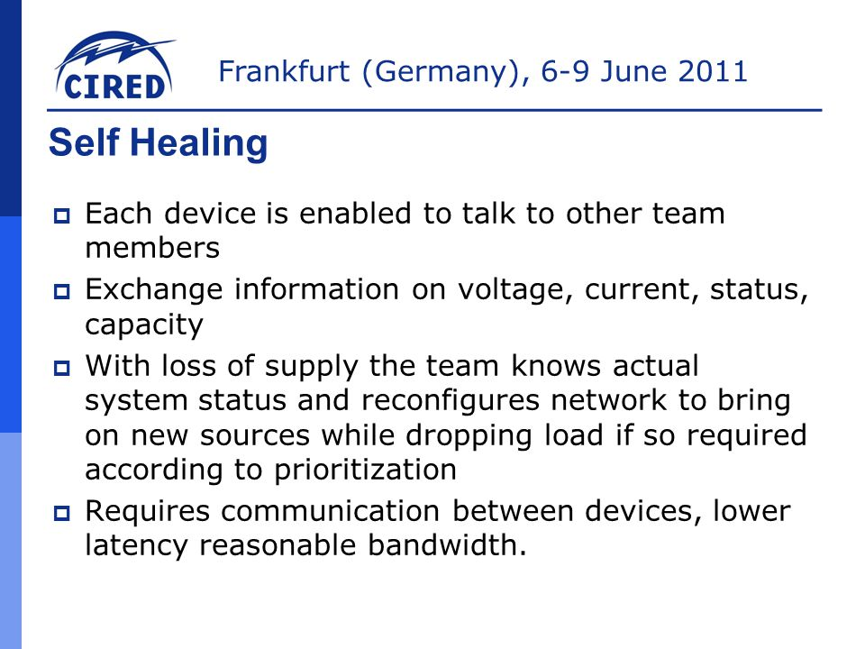 Self Healing Each device is enabled to talk to other team members