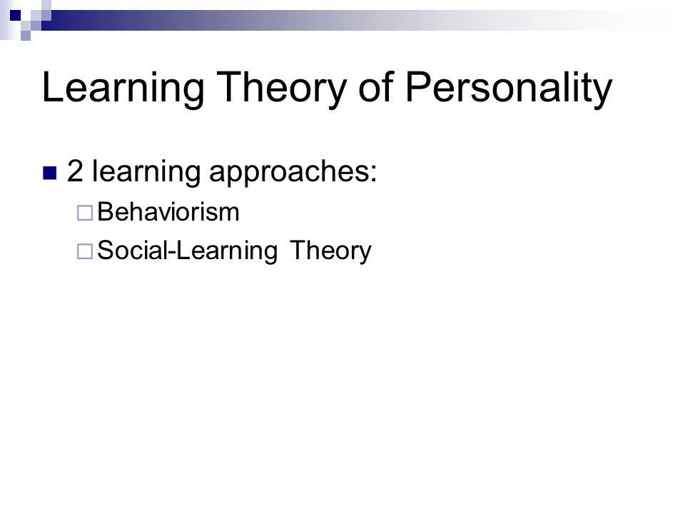Learning Theory of Personality