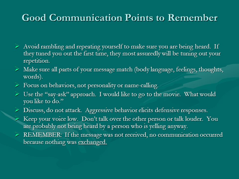 Good Communication Points to Remember