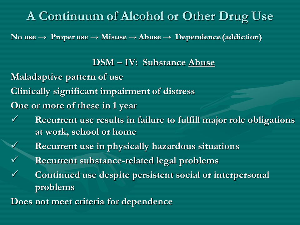 A Continuum of Alcohol or Other Drug Use