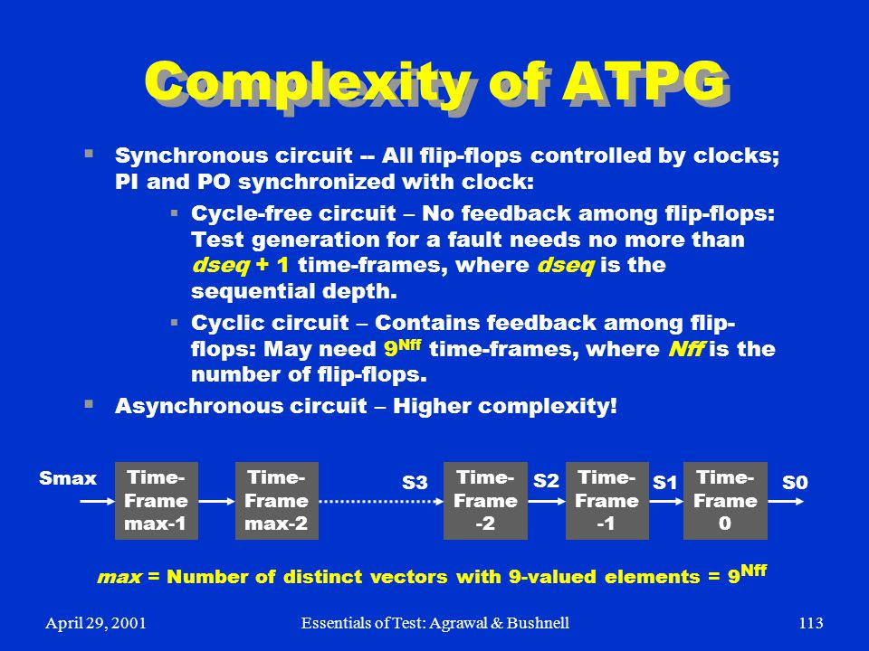 Complexity of ATPG Synchronous circuit -- All flip-flops controlled by clocks; PI and PO synchronized with clock: