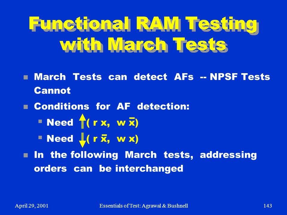 Functional RAM Testing with March Tests