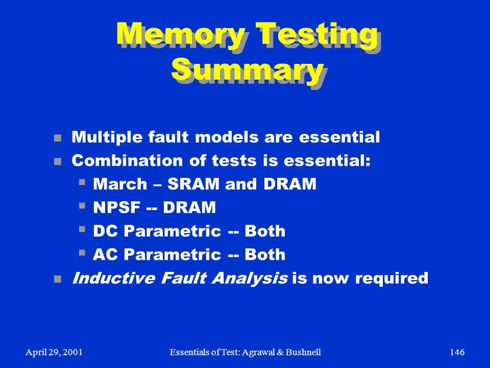 Memory Testing Summary