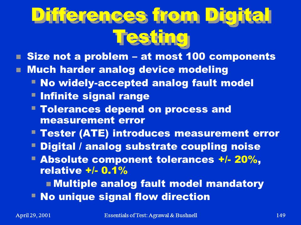 Differences from Digital Testing