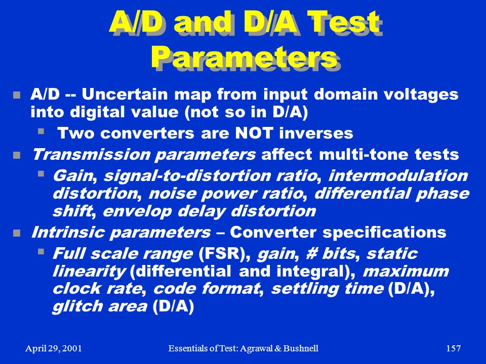 A/D and D/A Test Parameters