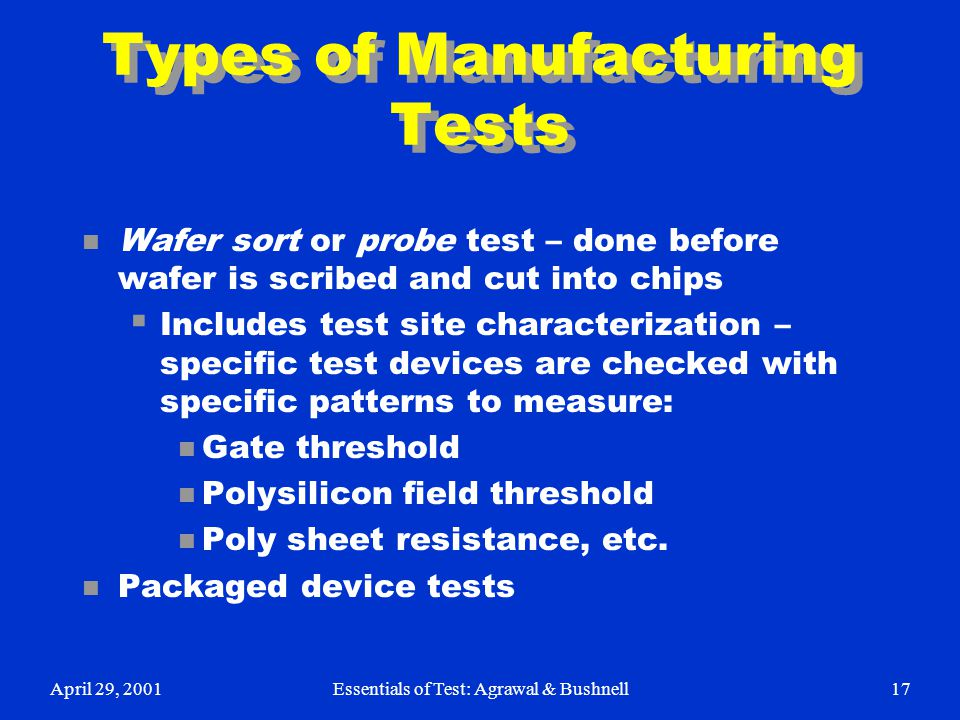 Types of Manufacturing Tests