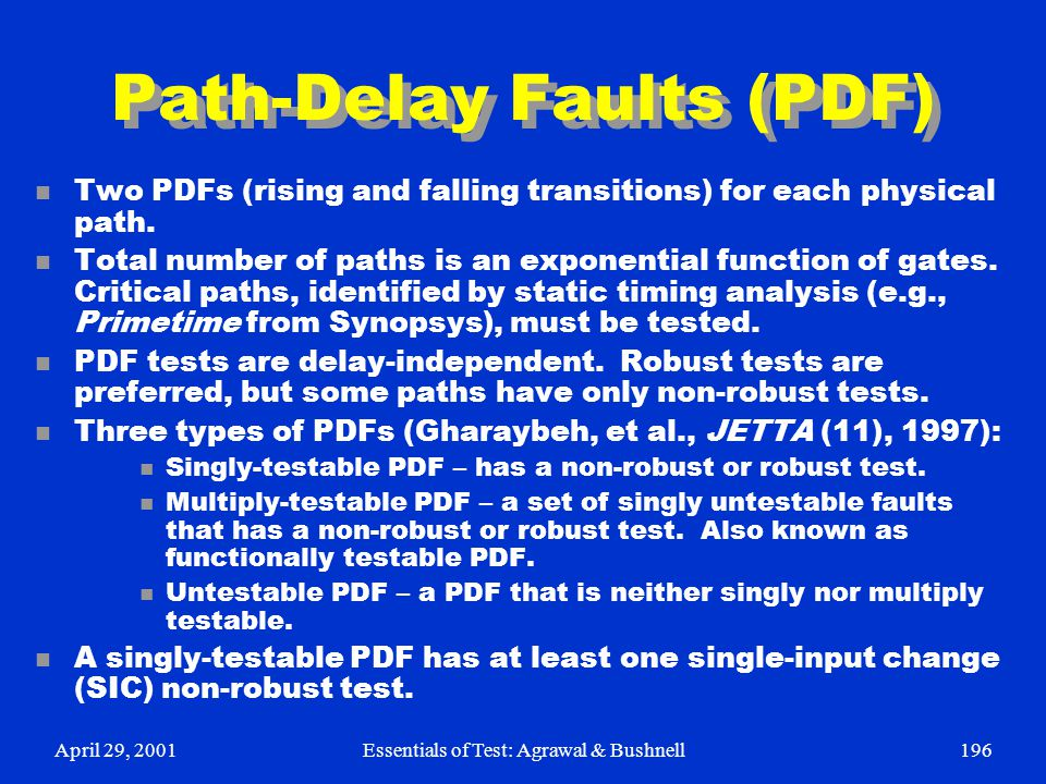 Path-Delay Faults (PDF)