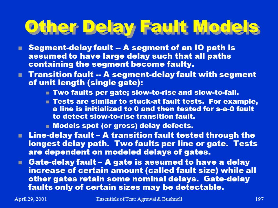 Other Delay Fault Models