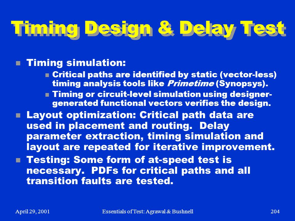 Timing Design & Delay Test