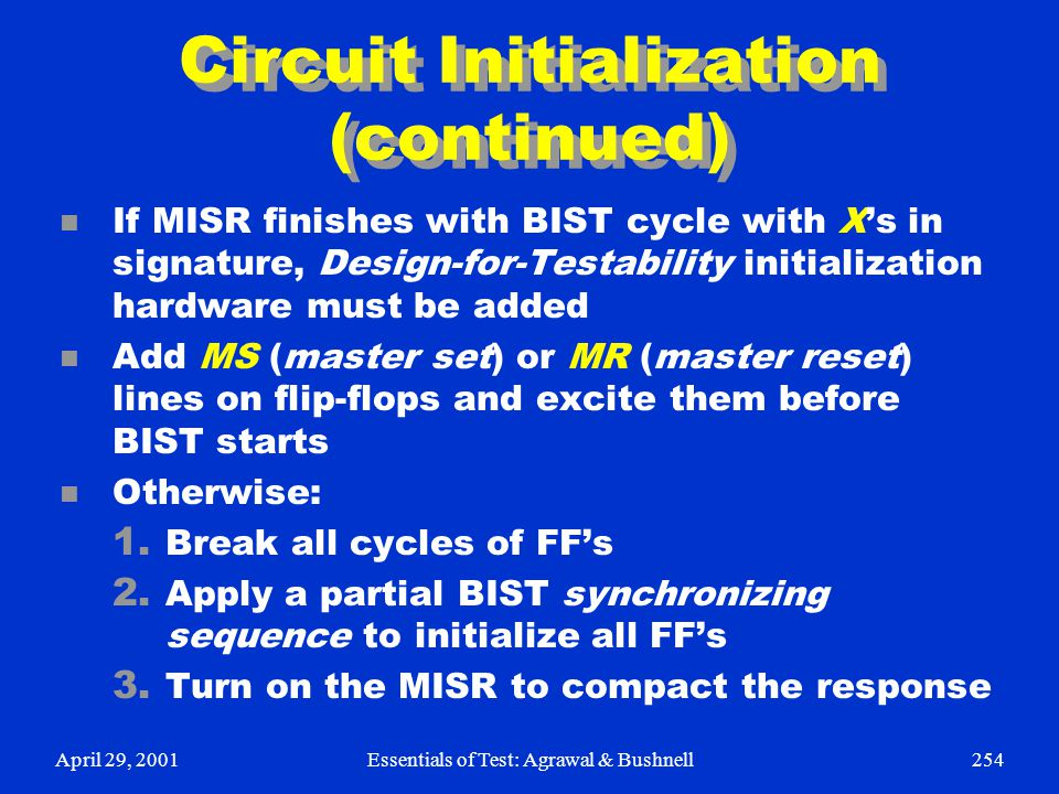 Circuit Initialization (continued)