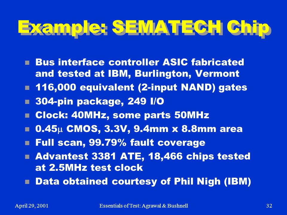 Example: SEMATECH Chip