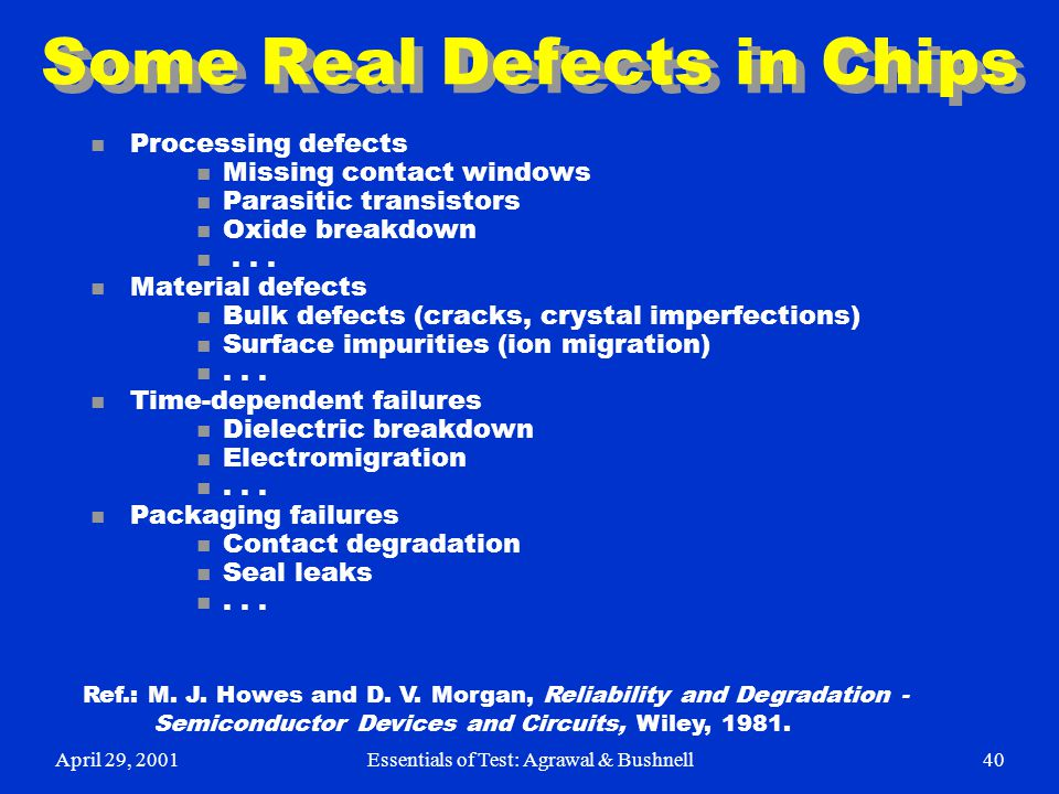 Some Real Defects in Chips