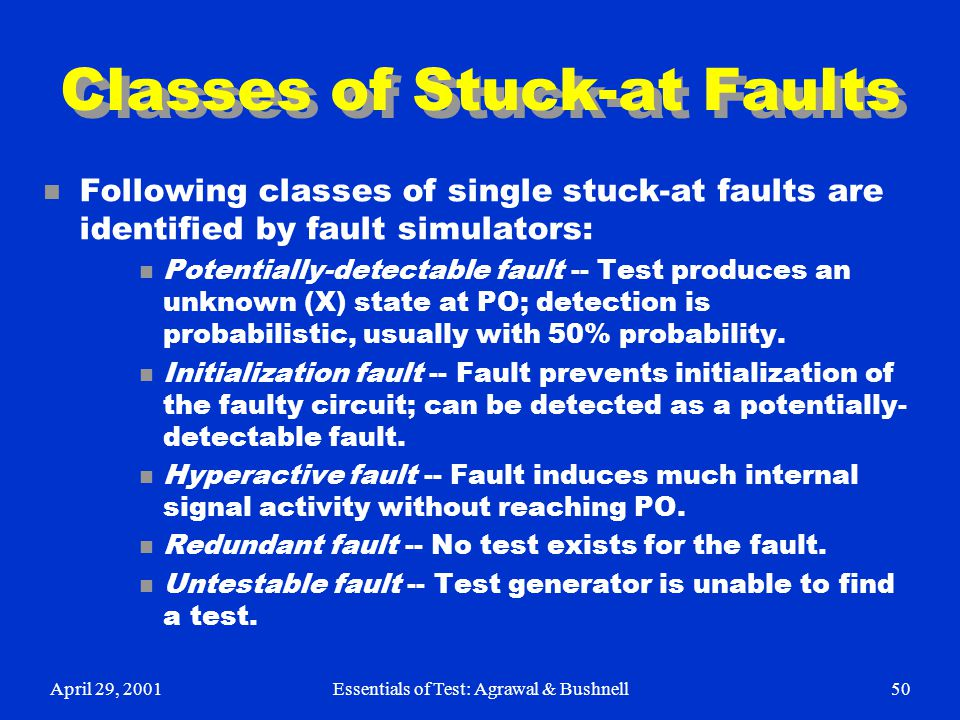 Classes of Stuck-at Faults