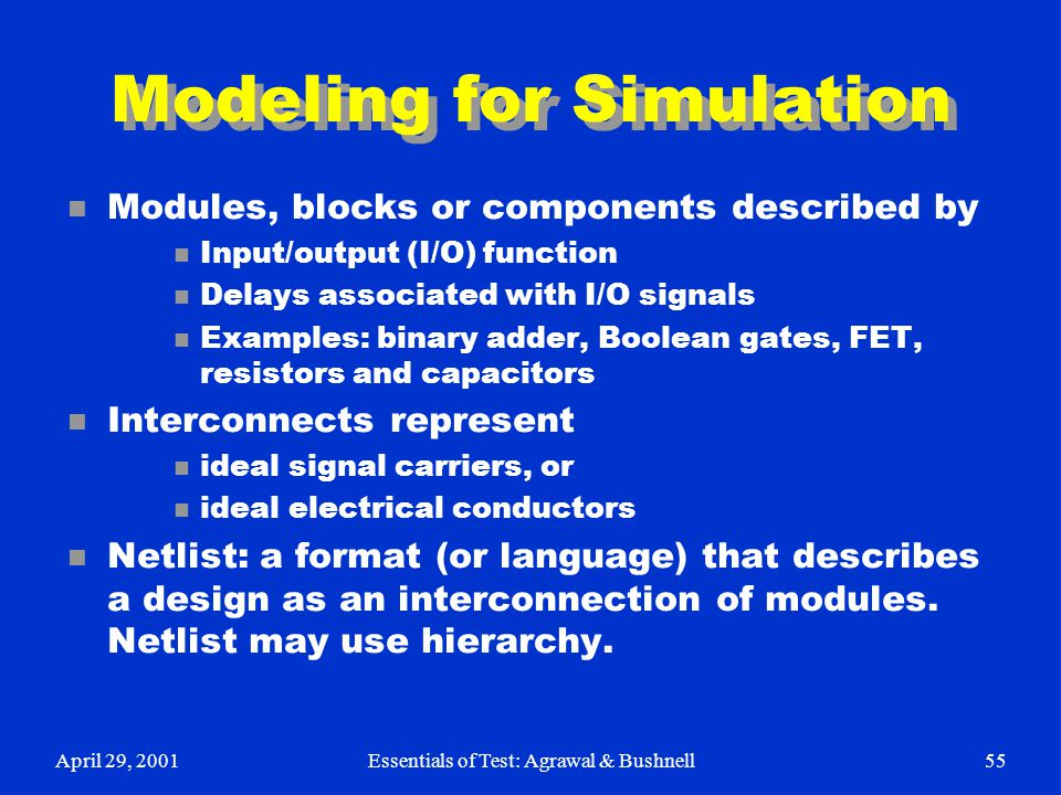 Modeling for Simulation