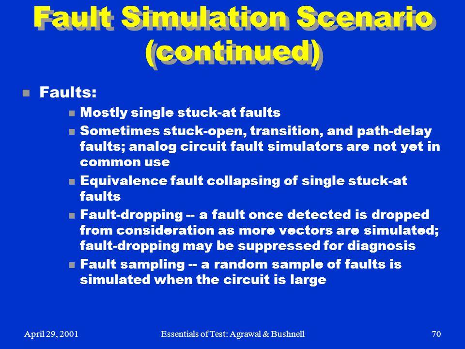 Fault Simulation Scenario (continued)
