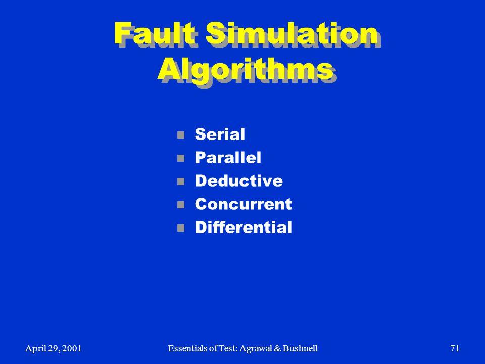 Fault Simulation Algorithms