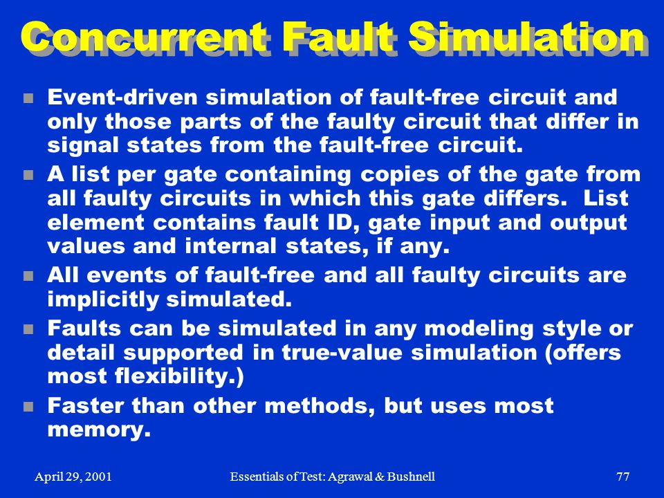 Concurrent Fault Simulation
