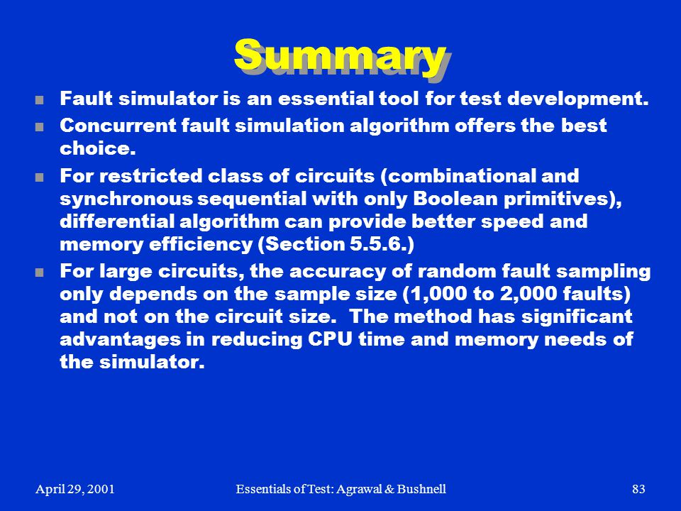 Essentials of Test: Agrawal & Bushnell