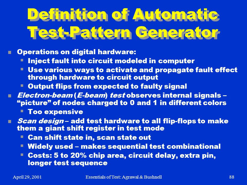 Definition of Automatic Test-Pattern Generator
