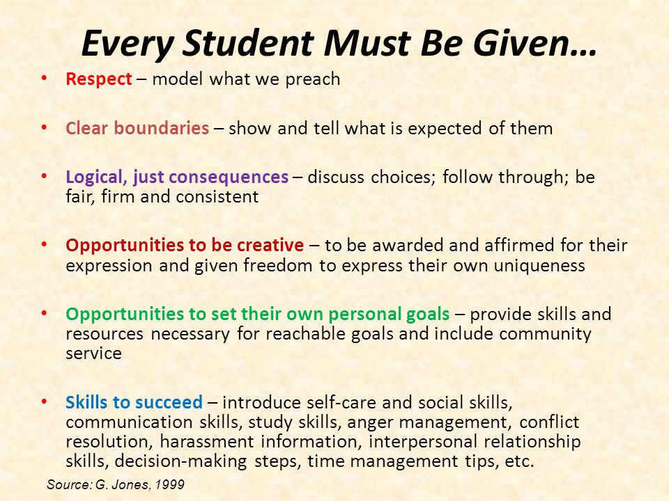 Every Student Must Be Given…
