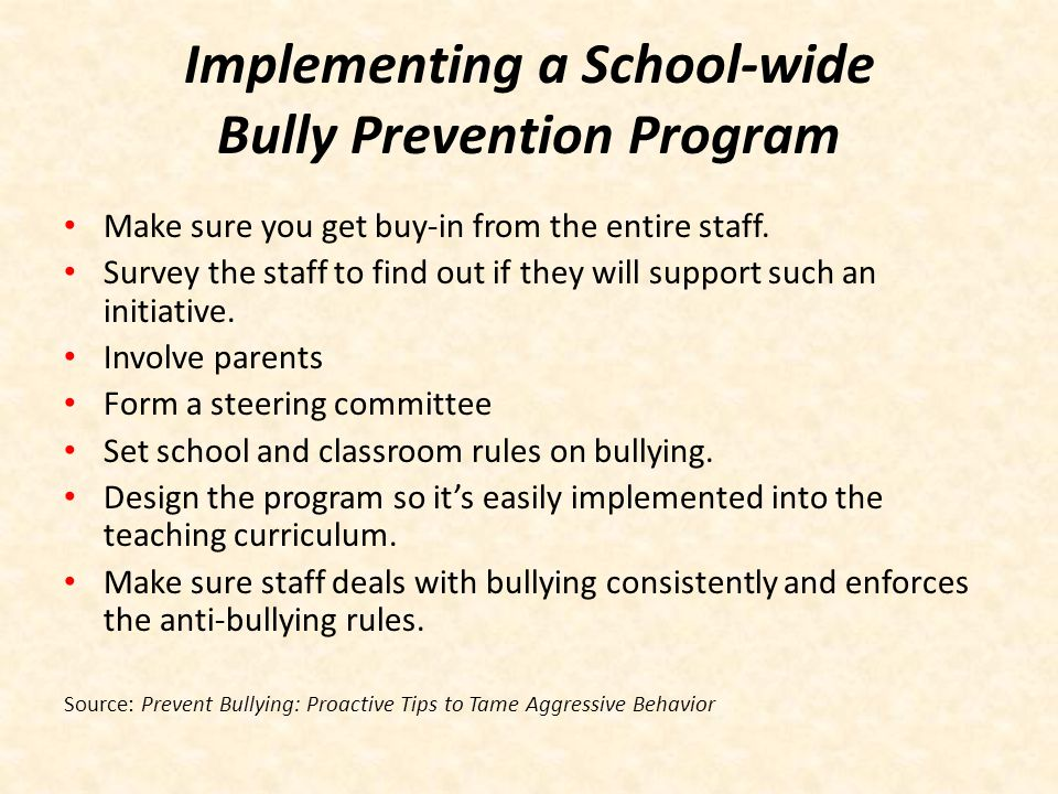 Implementing a School-wide Bully Prevention Program