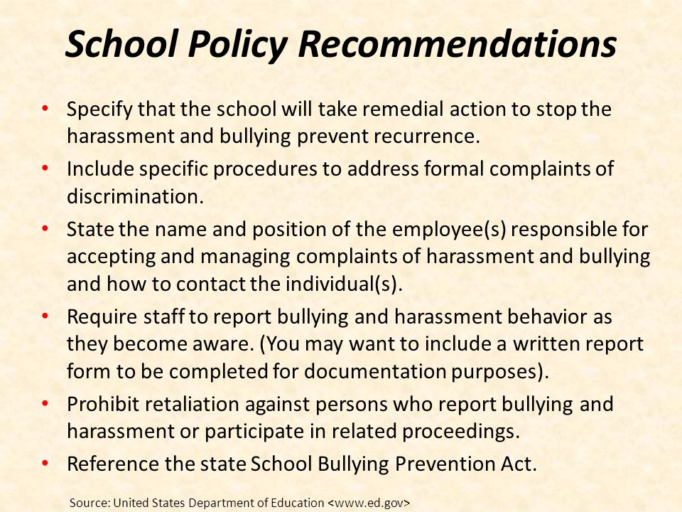 School Policy Recommendations