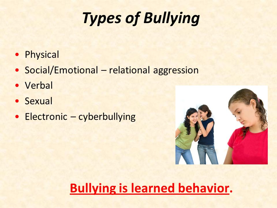 Types of Bullying Physical Social/Emotional – relational aggression
