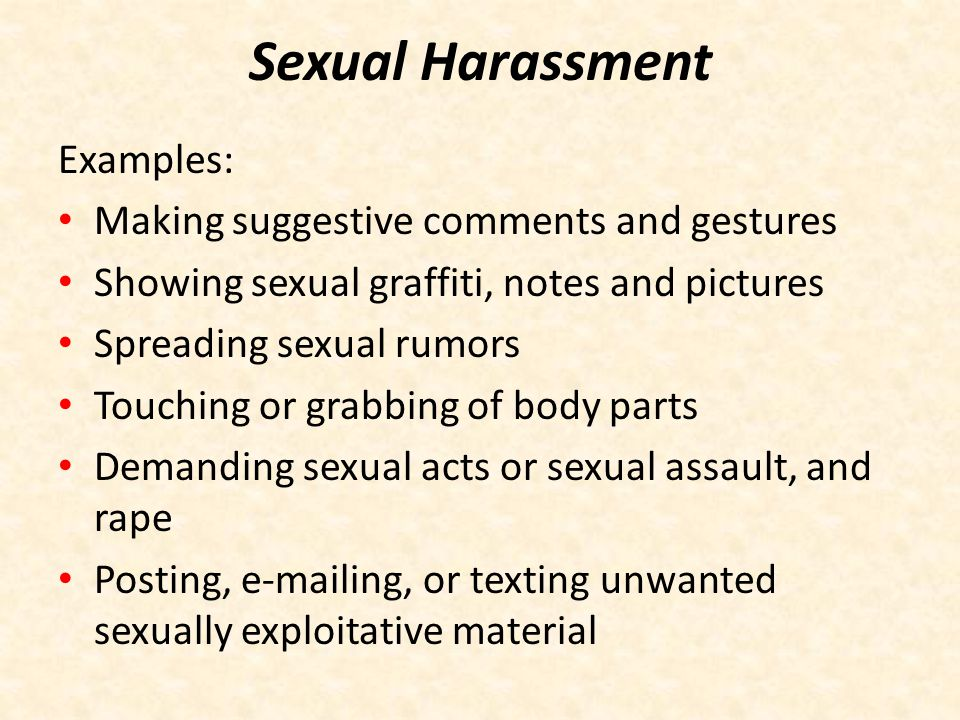 Sexual Harassment Examples: Making suggestive comments and gestures