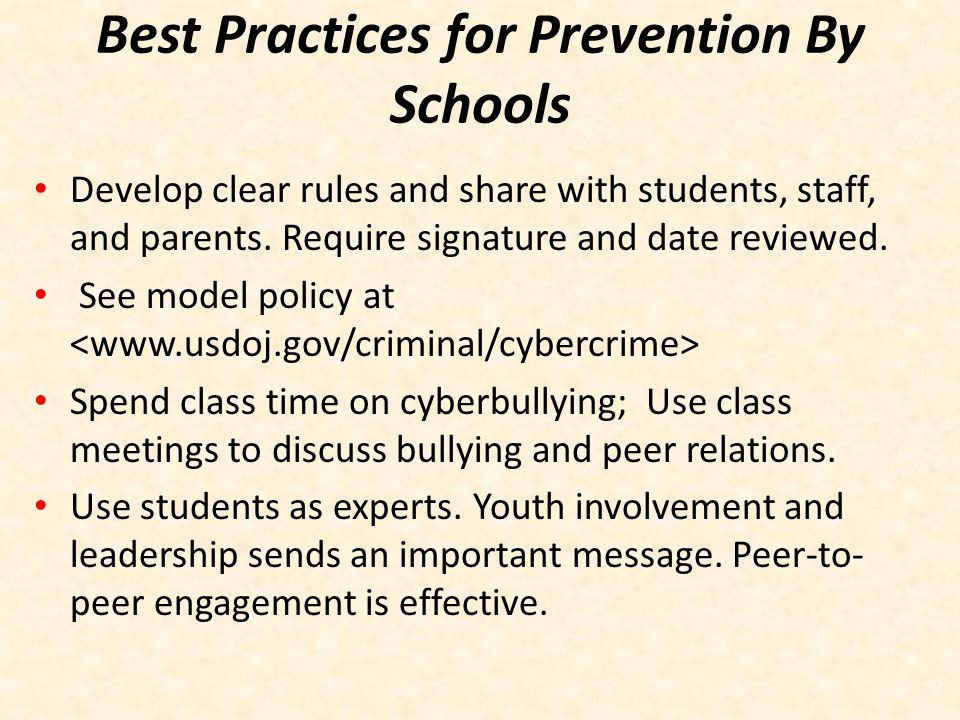 Best Practices for Prevention By Schools