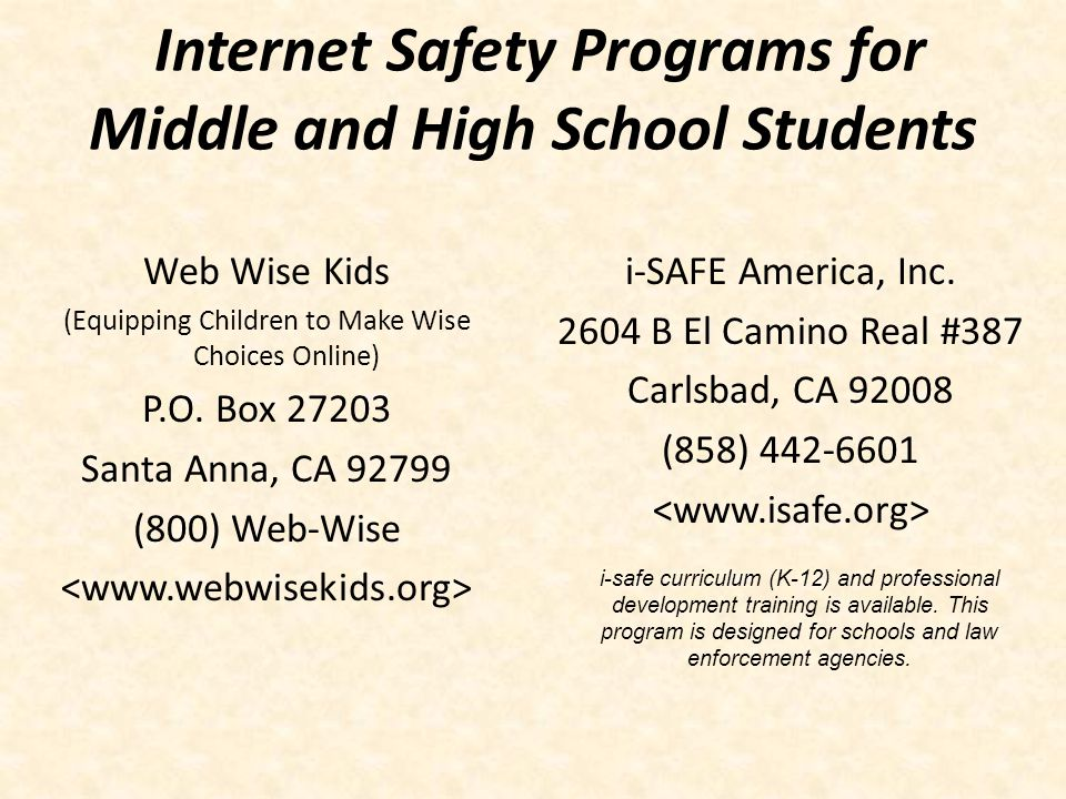 Internet Safety Programs for Middle and High School Students