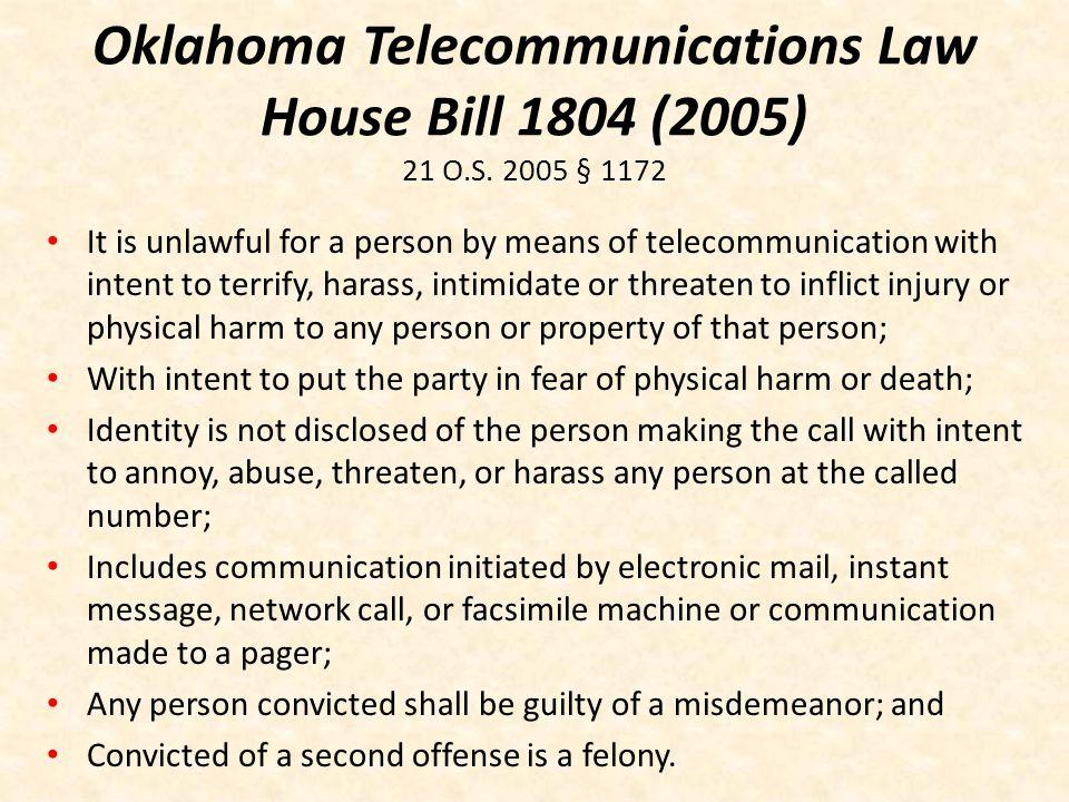 Oklahoma Telecommunications Law House Bill 1804 (2005) 21 O. S