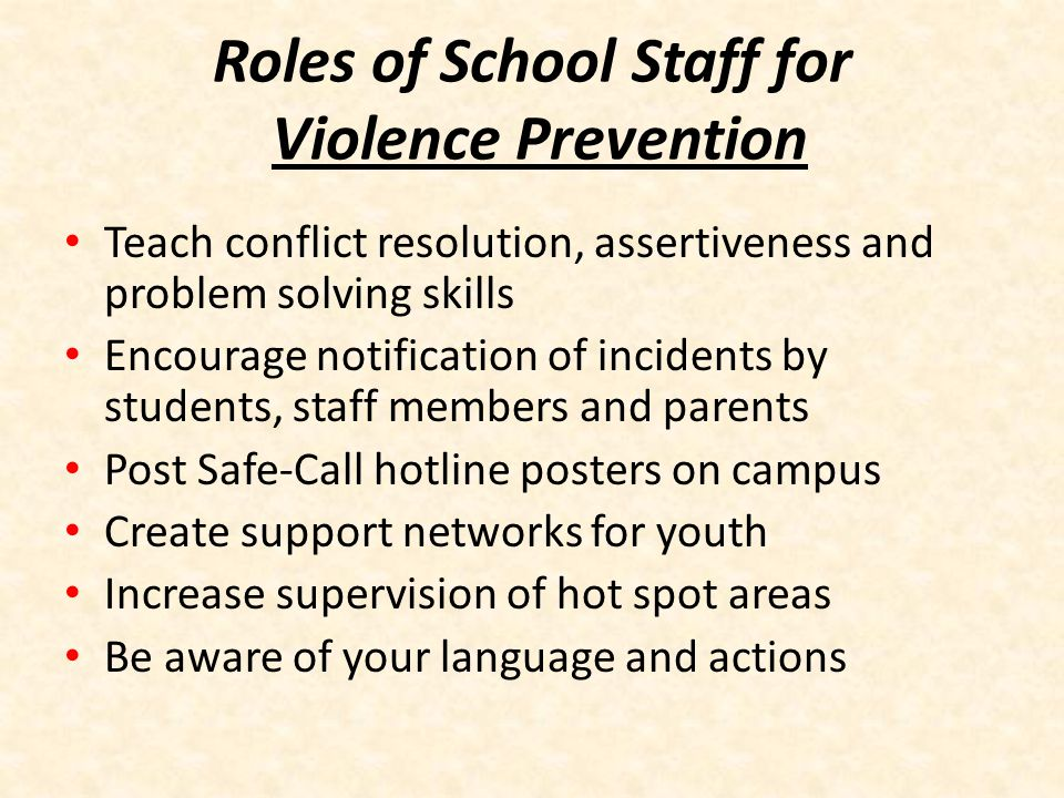Roles of School Staff for Violence Prevention