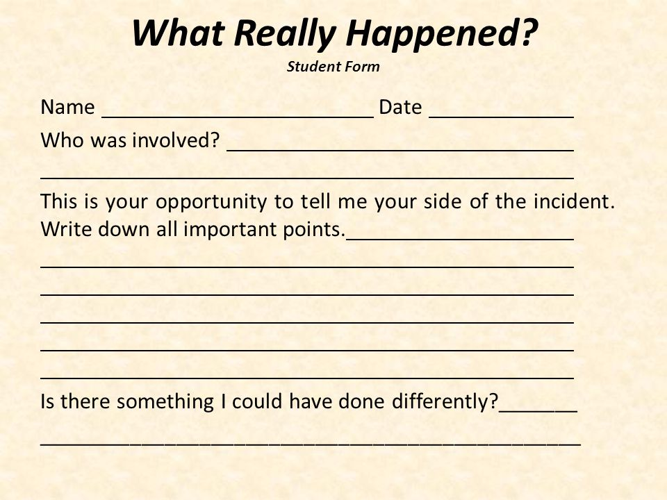 What Really Happened Student Form