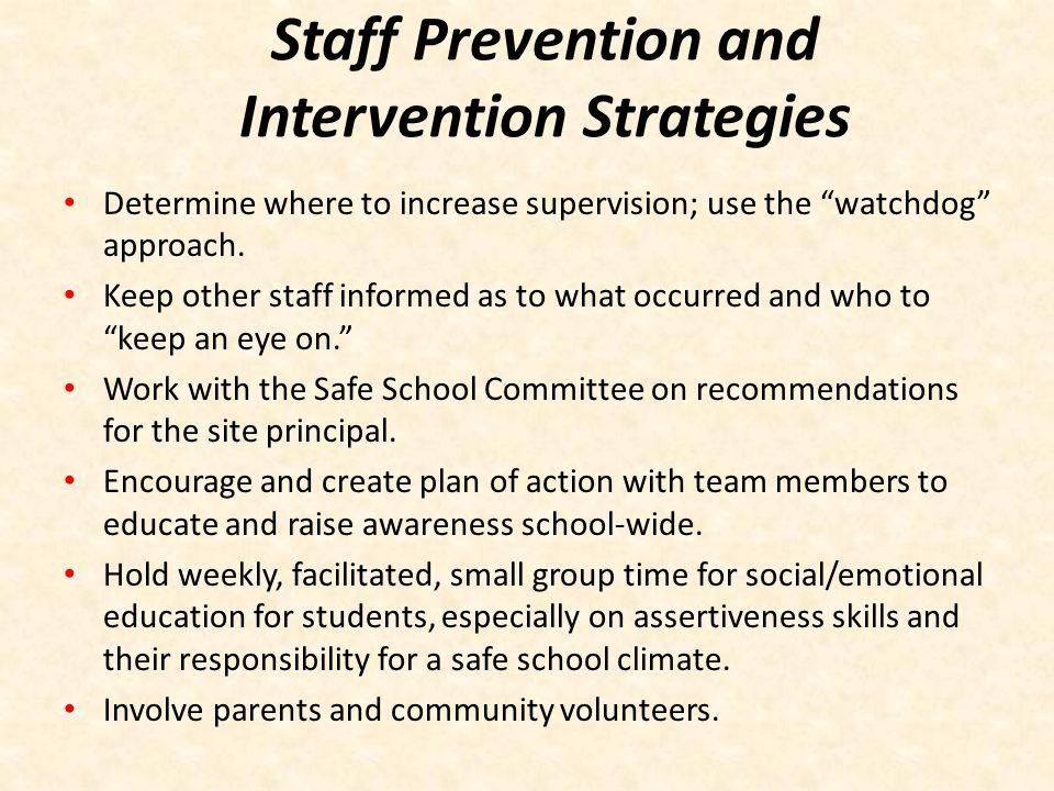 Staff Prevention and Intervention Strategies