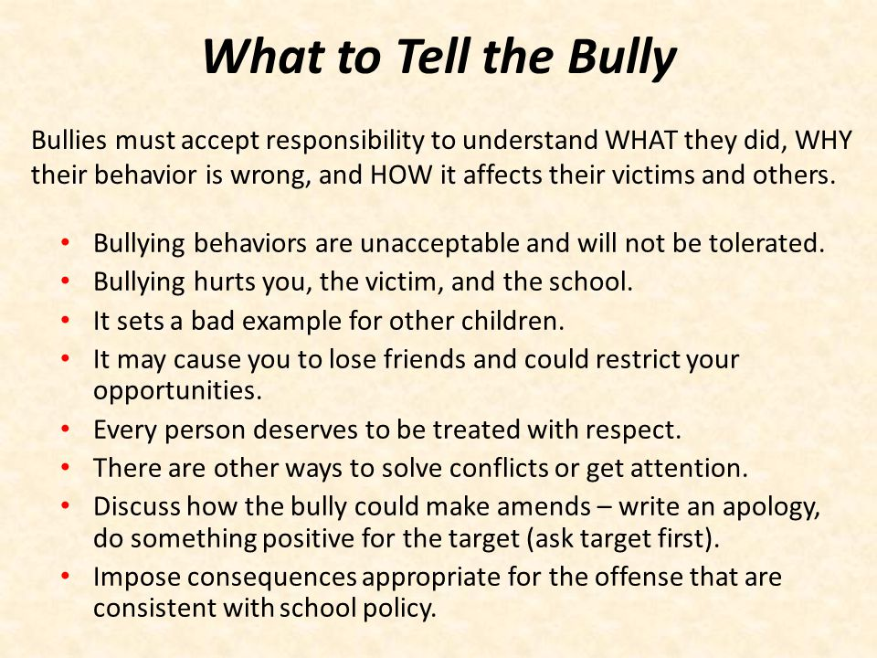 What to Tell the Bully