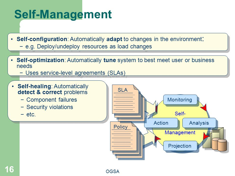 Self-Management Self-configuration: Automatically adapt to changes in the environment: e.g. Deploy/undeploy resources as load changes.