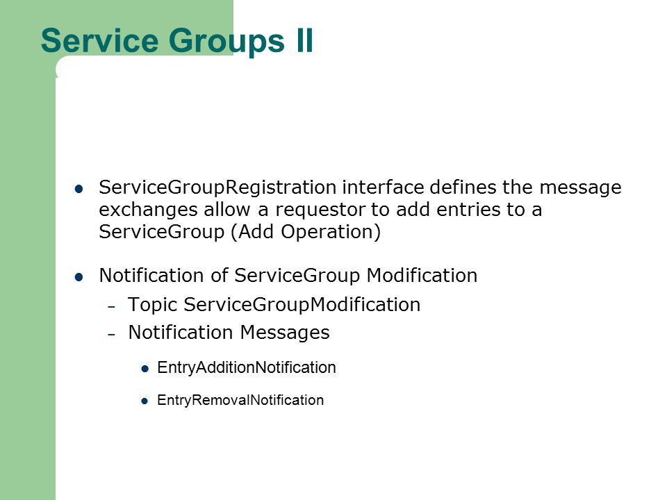 Service Groups II