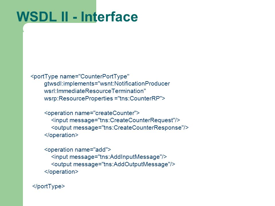 WSDL II - Interface <portType name= CounterPortType