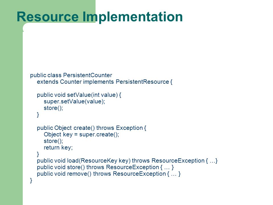Resource Implementation
