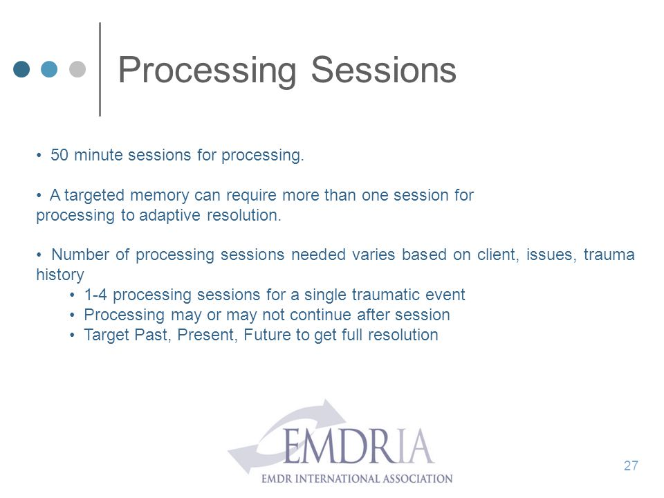 Processing Sessions 50 minute sessions for processing.