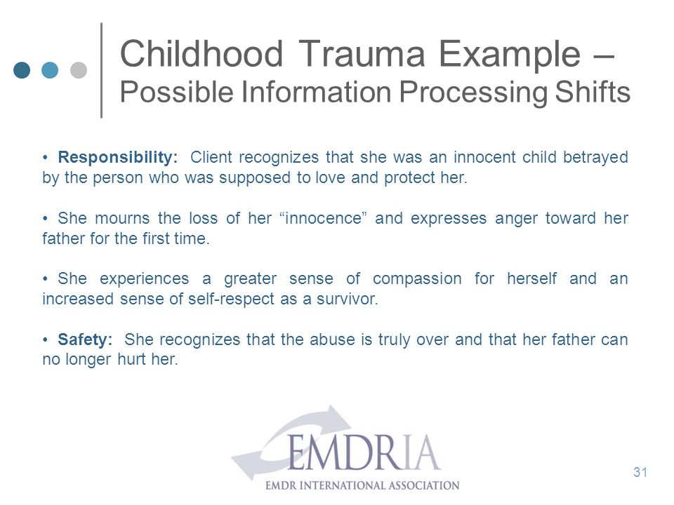 Childhood Trauma Example – Possible Information Processing Shifts