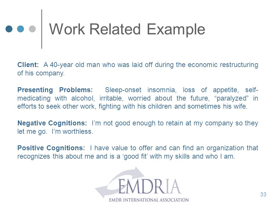 Work Related Example Client: A 40-year old man who was laid off during the economic restructuring of his company.