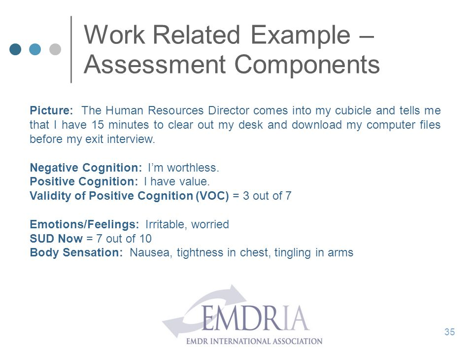 Work Related Example – Assessment Components