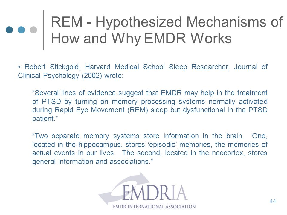 REM - Hypothesized Mechanisms of How and Why EMDR Works