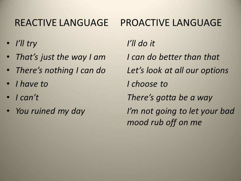 REACTIVE LANGUAGE PROACTIVE LANGUAGE