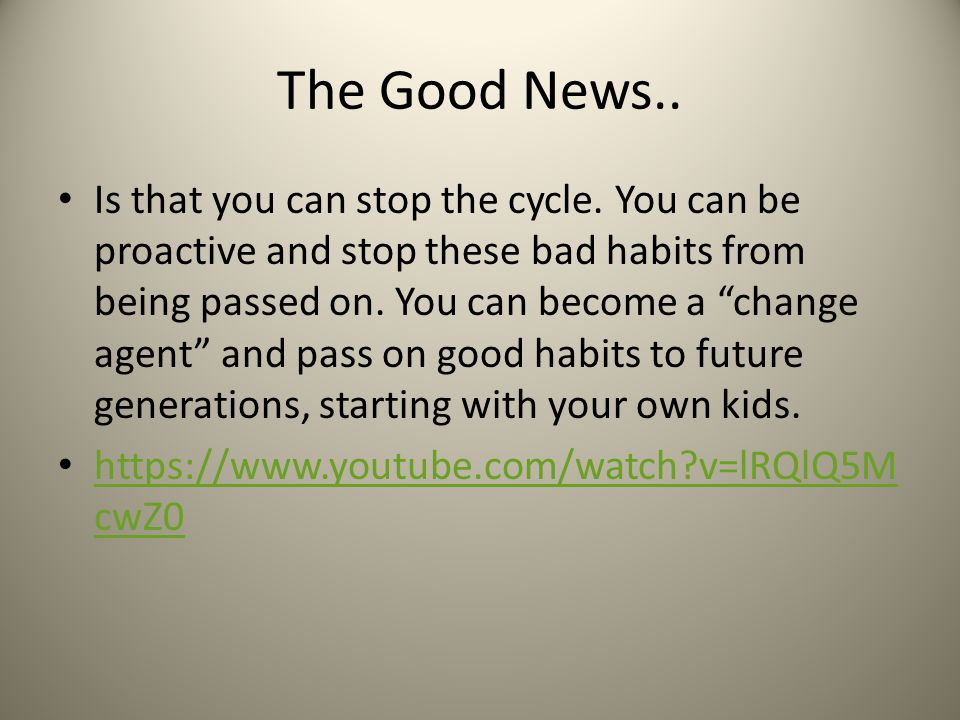 The Good News..