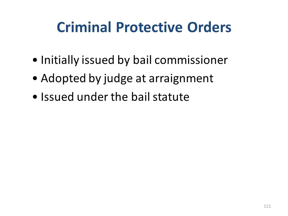 Criminal Protective Orders