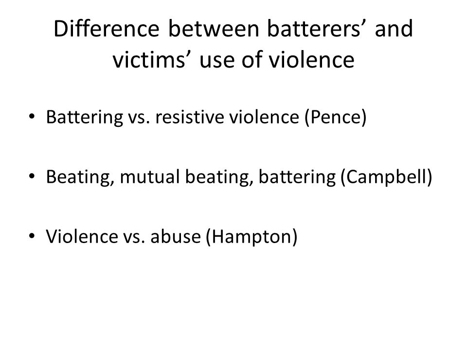 Difference between batterers' and victims' use of violence